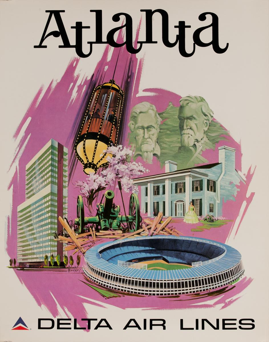 Delta Airlines Original Travel Poster Atlanta Icons