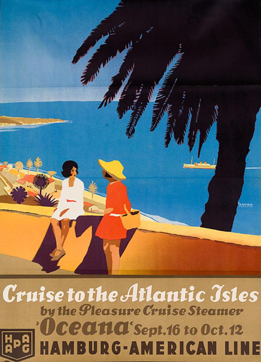 Cruise to the Atlantic Isles Hamburg America Line Original Cruise Line Travel Poster