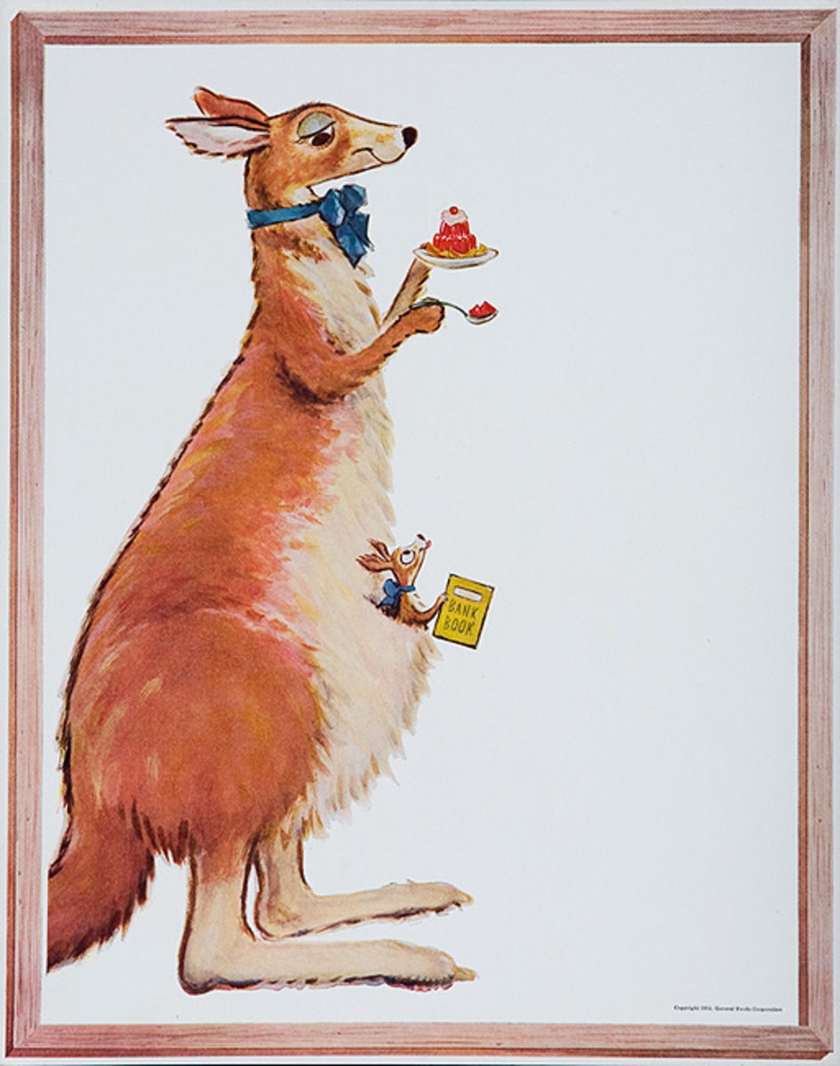 Original Jello Advertising Poster Kangaroo