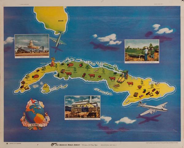 Pan American World Airways  Cuba Map Poster