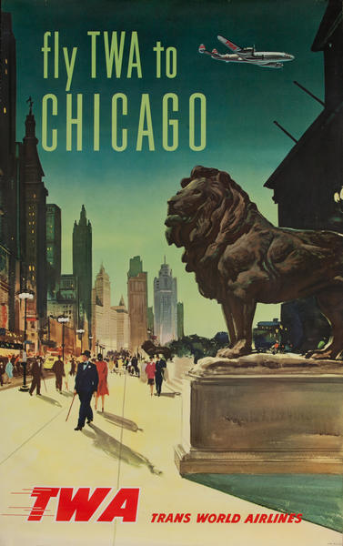 Fly TWA to Chicago Original Travel Poster Art Institute Lion