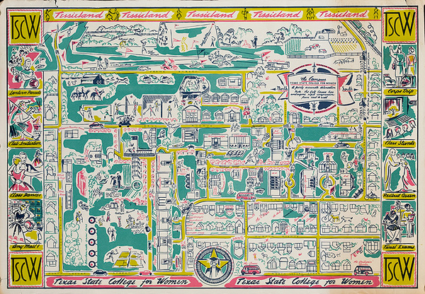 Texas State College For Women Original College Souvenir Poster Map