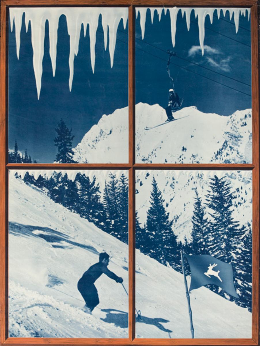 White Stag Ski Clothes Advertisng Poster Scene Through a Window