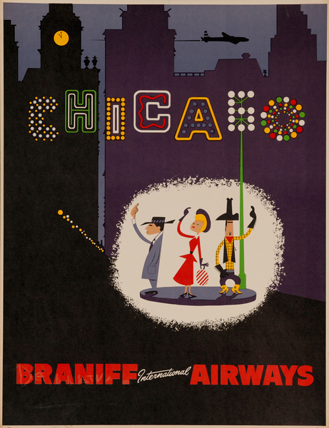 Braniff International Airways Original Travel Poster Chicago night scene