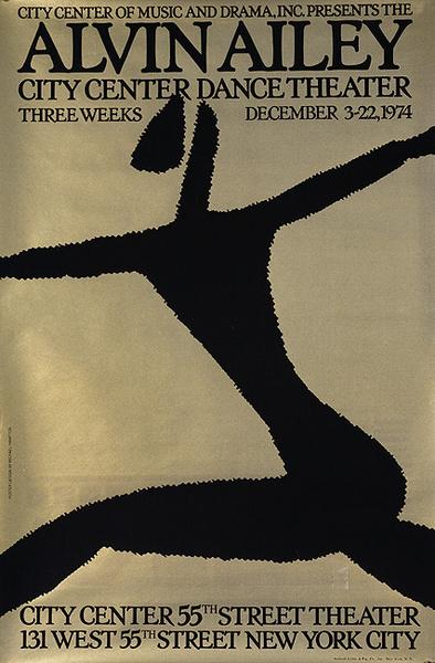 Alvin Ailey City Center Theater original 1974 Dance Poster Gold