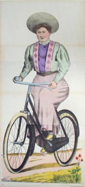 Original Vintage 19th Century Carnival Poster Woman Riding Bicycle