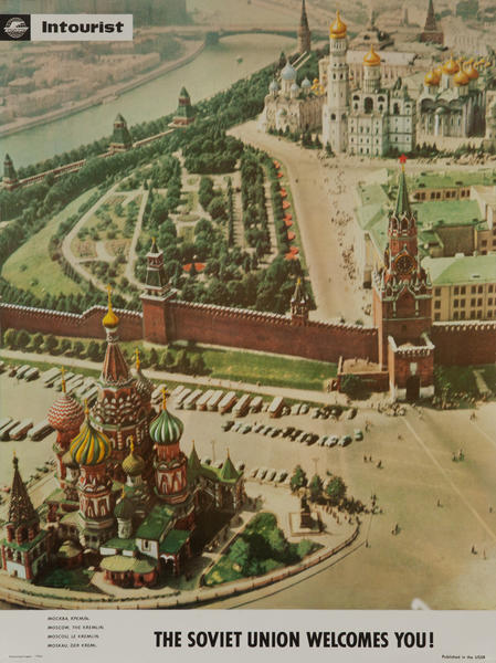 The Soviet Union Welcomes You Original Intourist Travel Poster Red Square