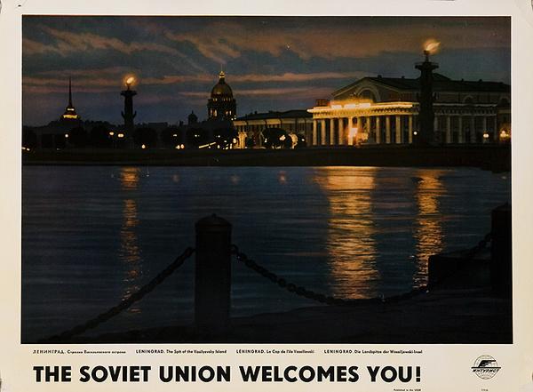 The Soviet Union Welcomes You Original Intourist Travel Poster Leningrad the SPit