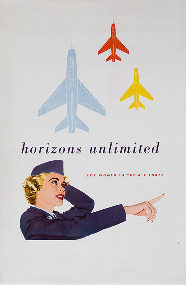 Horizons Unlimited For Women in the Air Force Original Korean War Recruiting Poster