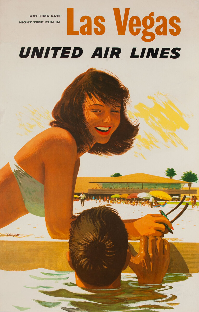Day Time Sun, Night Time Fun In Las Vegas United Air Lines Original Travel Poster