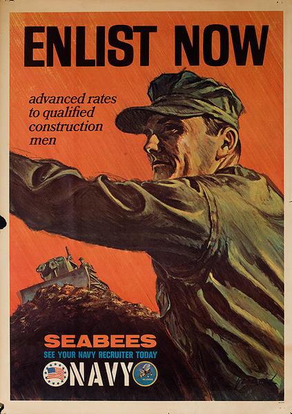 Enlist Now Seabees Navy Original Vietnam War Recruiting Poster