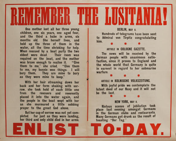 Remember the Lusitania Enlist To-Day<br> British WWI Recruiting Poster (h)