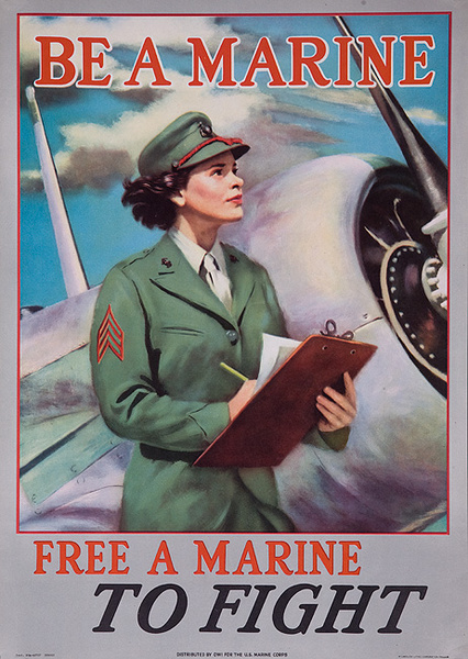Be a Marine, Free a Marine to Fight, Original WWII American Women's Recruiting Poster