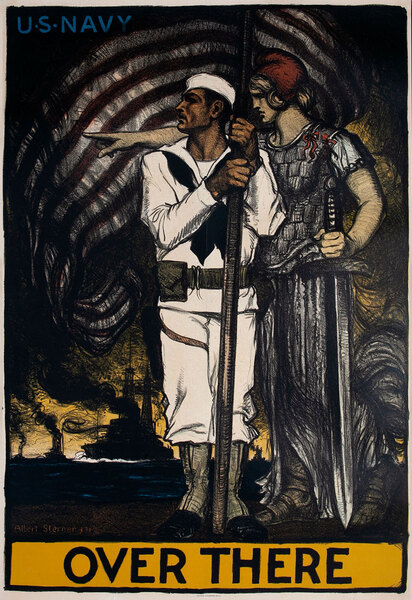 US Navy Over There Original WWI Recruiting Poster