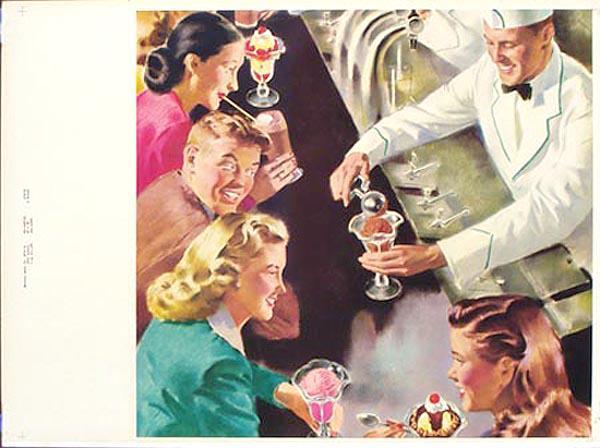 Original Vintage 1953 Diner Poster Malt Shop Soda Fountain