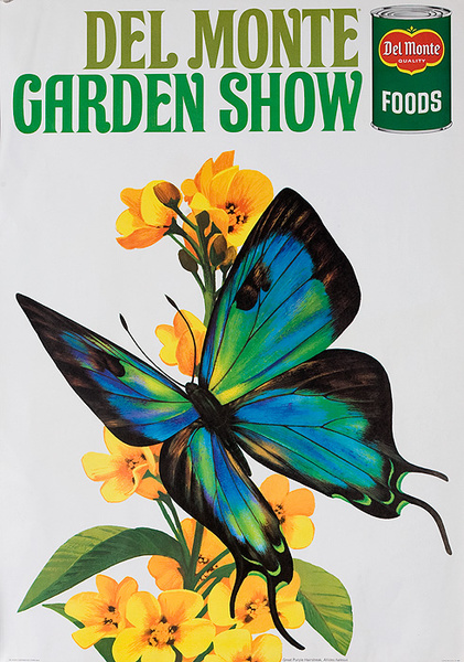 Del Monte Garden Show Original American Advertising Poster Great Purple Hairstreak Butterfly