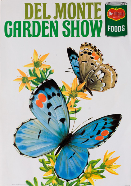 Del Monte Garden Show Original American Advertising Poster Sonora Blue Butterfly