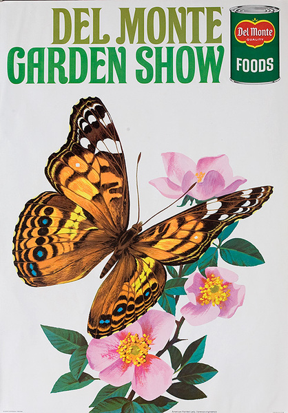 Del Monte Garden Show Original American Advertising Poster American Painted Lady Butterfly