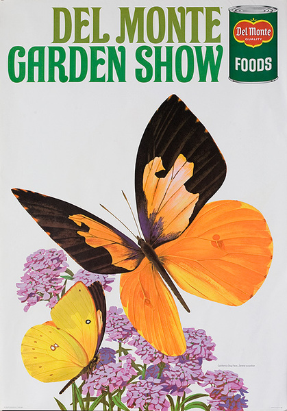 Del Monte Garden Show Original American Advertising Poster California Dog Face Butterfly