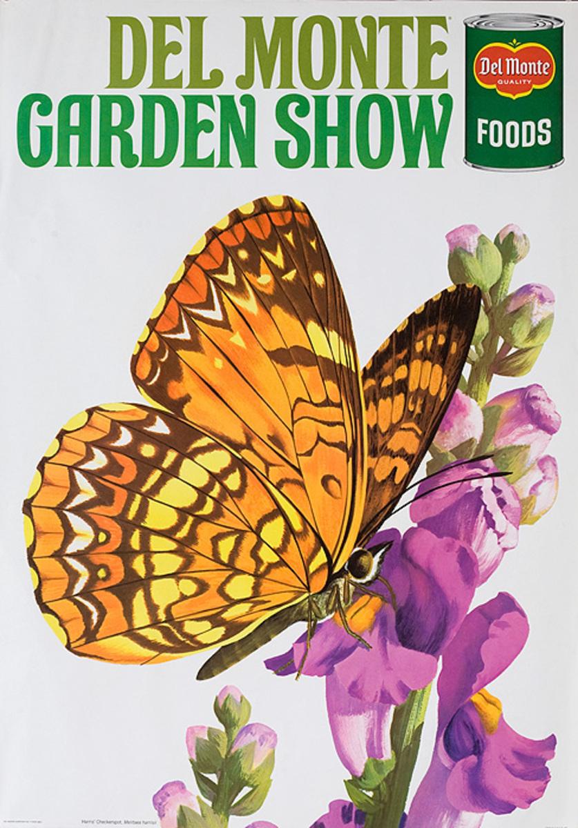 Del Monte Garden Show Original American Advertising Poster Harris' Checkerspot Butterfly
