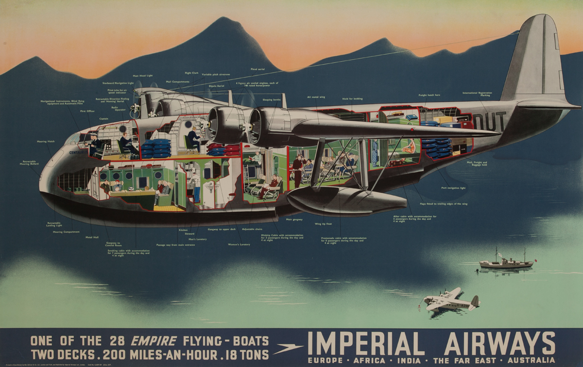 Imperial Airways Original Travel Poster One of the 28 Empire Flying Boats