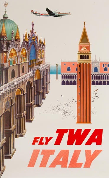 Fly TWA Italy Original Travel Poster, Piazza San Marco, St Mark's Square, Venice