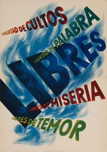 Original WWII Poster The Four Freedoms, Spanish