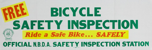 Free Bicycle Safert Inspection Original American 1950s Bicycle Shop Poster