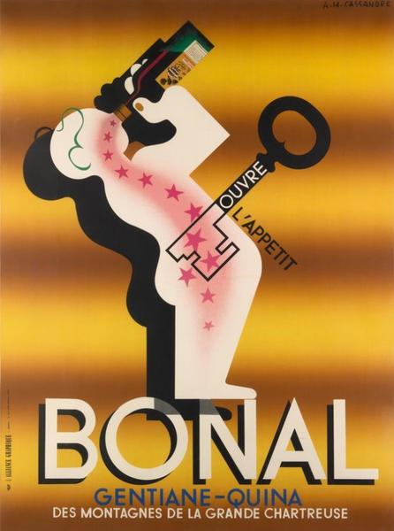 Bonal A. M. Cassandre Advertising Poster, yellow background