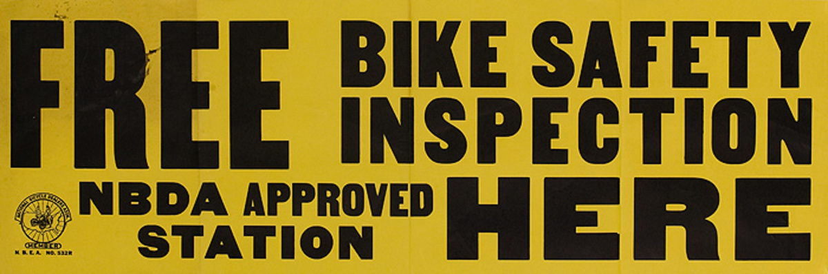 Free Safery Insection Here Original American 1950s Bicycle Shop Poster