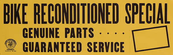 Bike Reconditioned Special Original American 1950s Bicycle Shop Poster