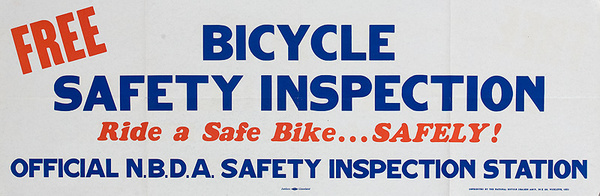 Free Safety Inspection Original American 1950s Bicycle Shop Poster red white blue