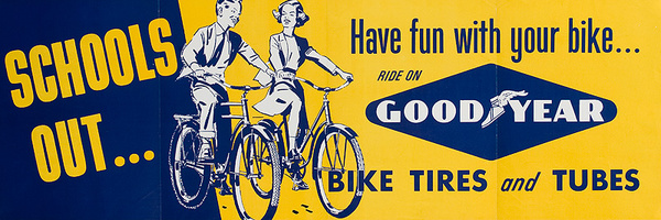 School's Out Have Fun With Your Bike Original American 1950s Goodyear Bicycle Shop Poster
