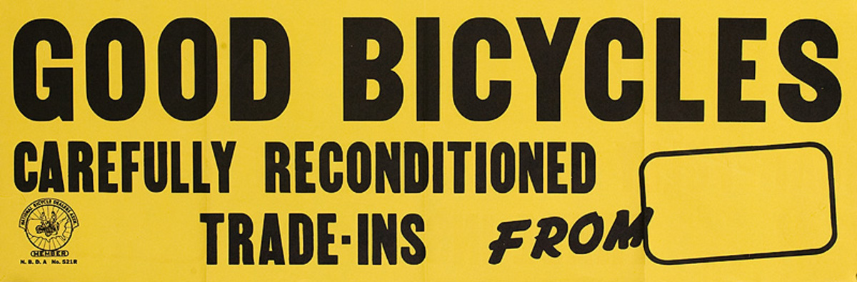 Good Bicycles Carefully Reconditioned Original American 1950s Goodyear Tire Bicycle Shop Poster
