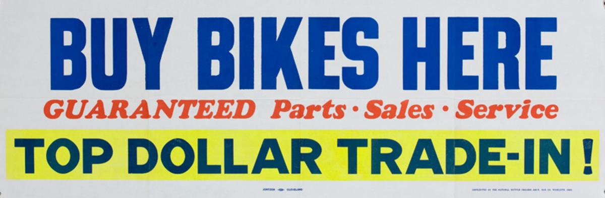 Buy Bikes Here Original American 1950s Bicycle Shop Poster