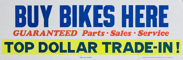 Buy Bikes Here Original American 1950s Bicycle Shop Poster