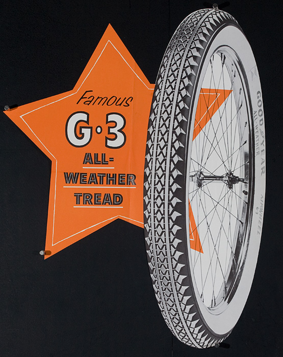 Famous G 3 Tread Original American 1950s Bicycle Shop Poster