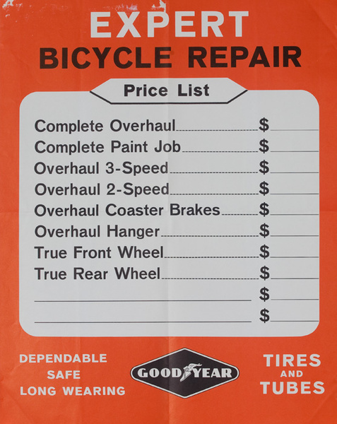 Expert Bike Repair Original American 1950s Bicycle Shop Poster