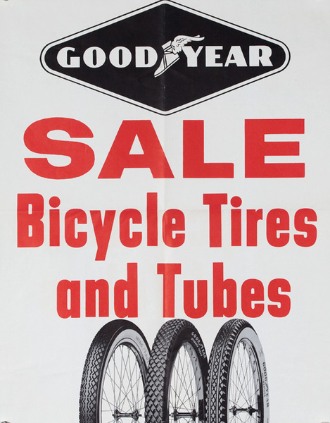 Sale Bicycle Tires Original American 1950s Bicycle Shop Poster