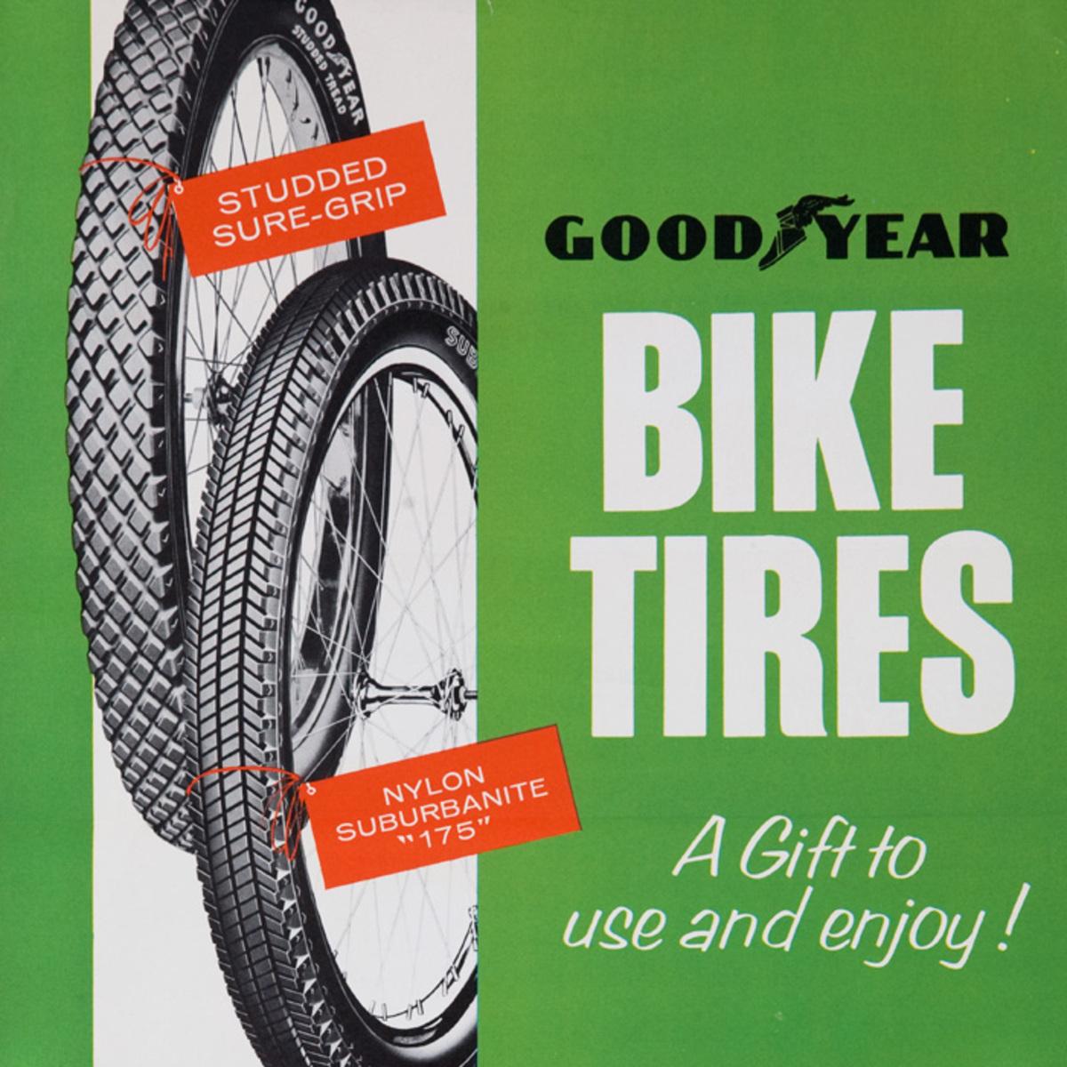 GoodYear Biek Tires Original American 1950s Bicycle Shop Poster