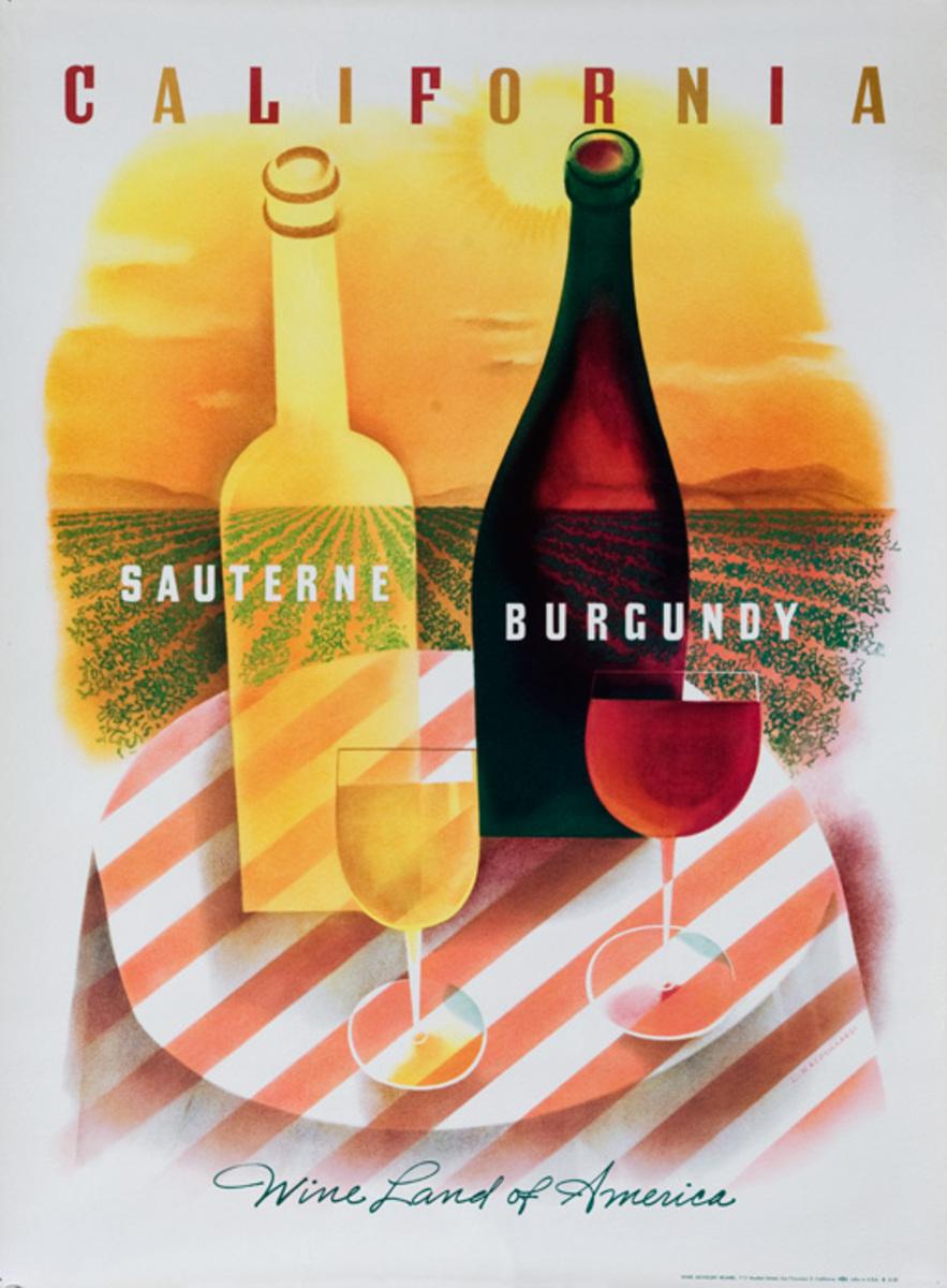 California Sauterne Burgundy Original American Wine Advertising Poster