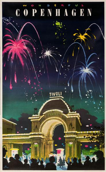 Copenhagen Tivoli Grdens Travel Poster Fireworks