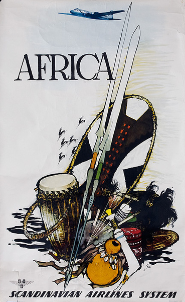 Africa SAS Original Scandanavian Air Service Travel Poster