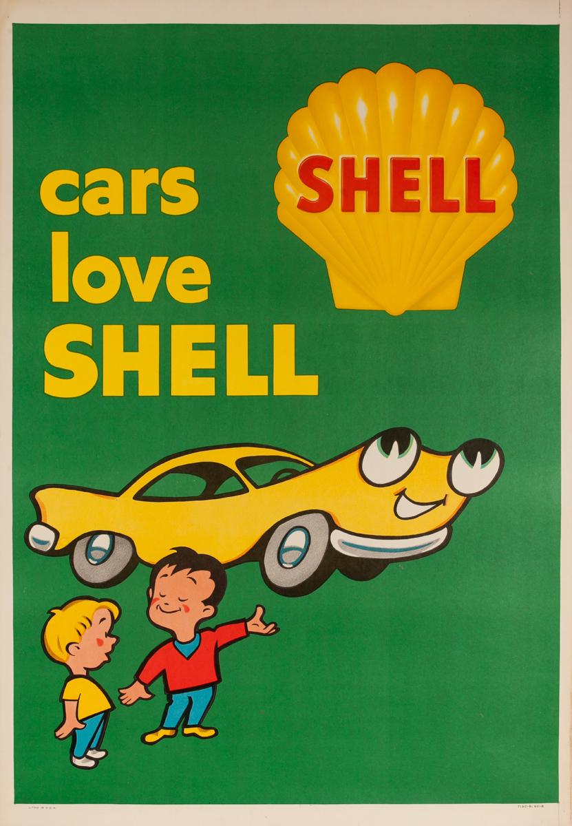 Original American Advertising Poster Cars Love Shell