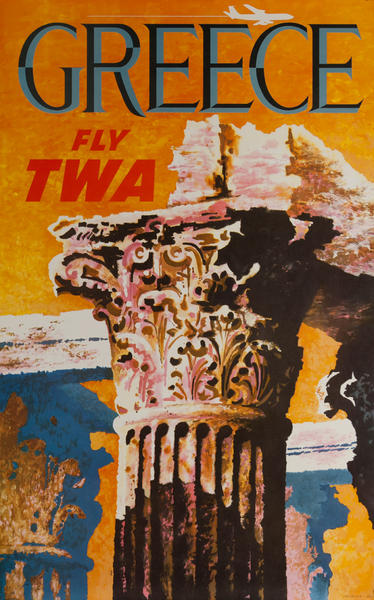 Greece Fly TWA Original Travel Poster Column jet
