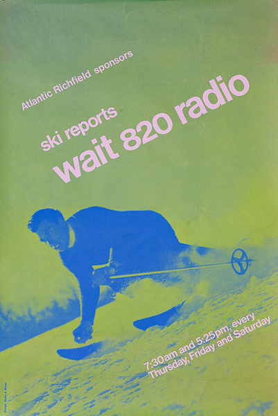 Original American Radio Station WAIT 820 Ski Report Poster Green