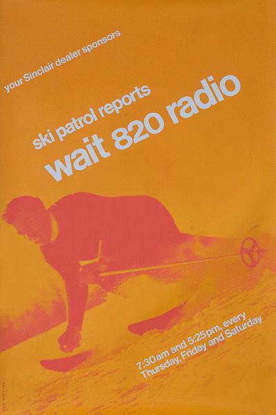 Original American Radio Station WAIT 820 Ski Report Poster Orange