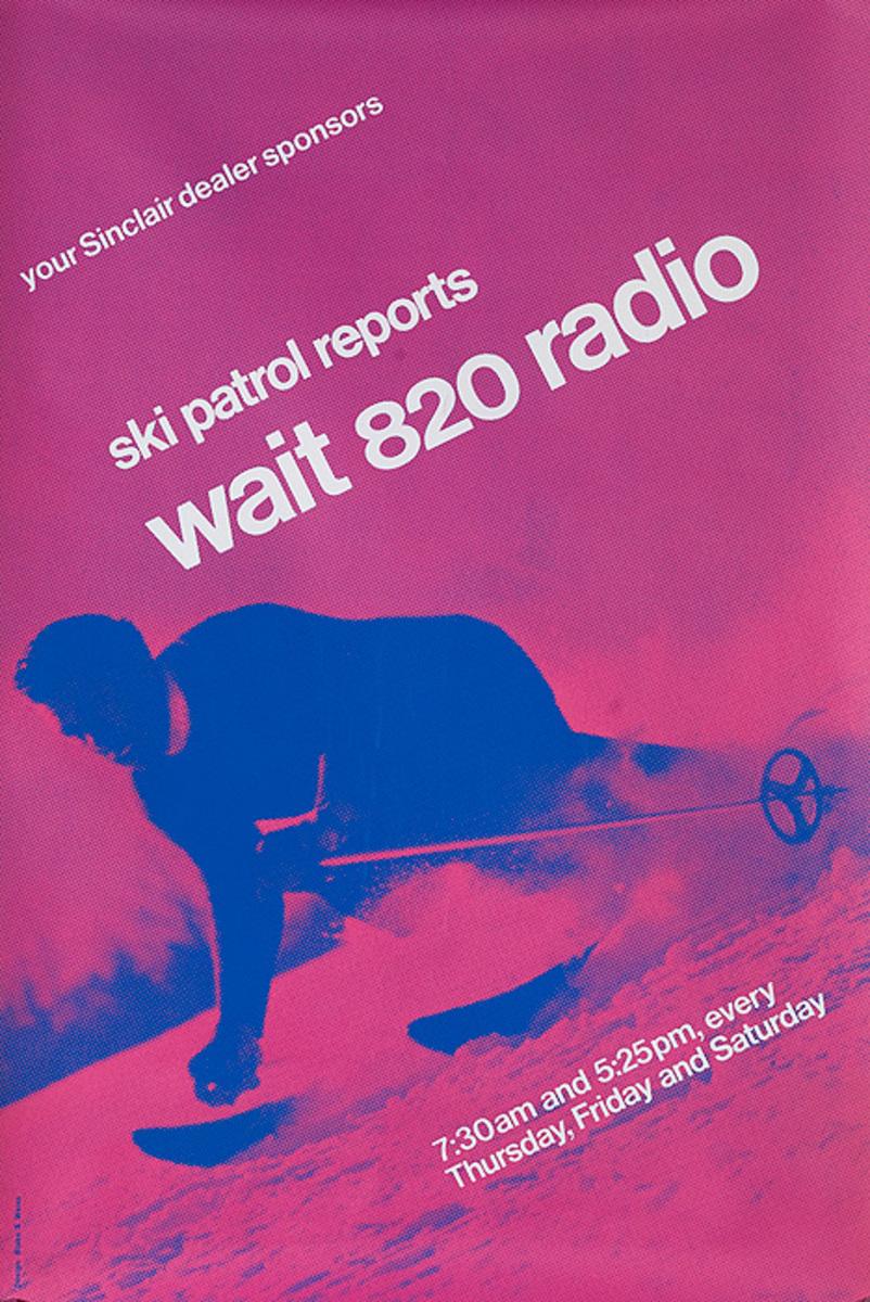 Original American Radio Station WAIT 820 Ski Report Purple Purle