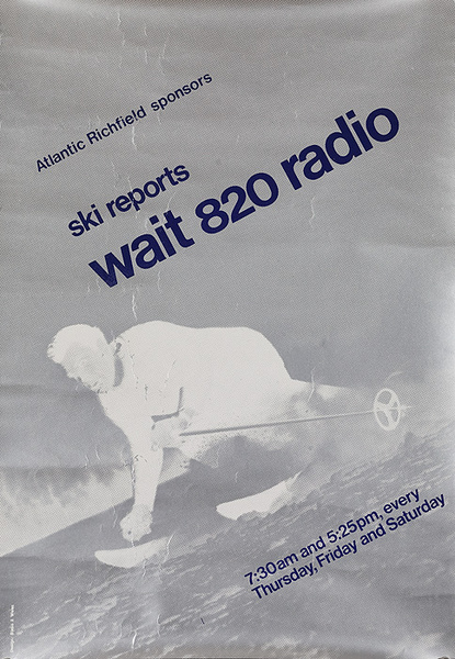 Original American Radio Station WAIT 820 Ski Report Poster Silver