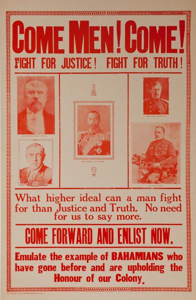 Come Men! Come! Original Bahamian WWI Recruiting Poster
